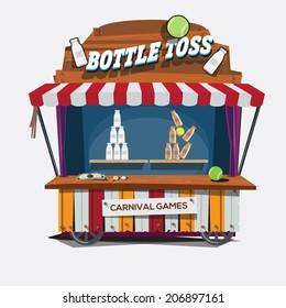 carnival game. Milk Bottle Toss - vector illustration