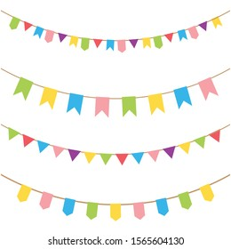 Carnival garland with flags. Decorative colorful party pennants for birthday celebration,