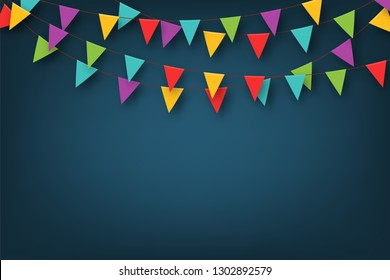 Carnival garland with pennants. Decorative colorful party flags for birthday celebration, festival and fair decoration. Festive background with hanging flags and pennants