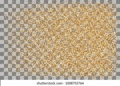 Carnival glitter design. Shine banner card sparkle. Decorative festive holiday backdrop. Random falling shimmer dust golden confetti. Transparent gold background luxury shine foil vector.