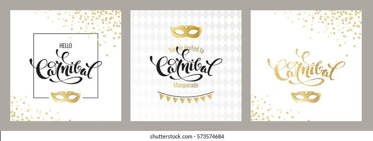 Carnival golden cards. Gold and black script and mask. Masquerade invitation design. Vector illustration