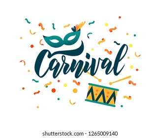 Carnival hand lettering text as banner, card, logo, icon, invitation template. Vector illustration with colorful party elements.