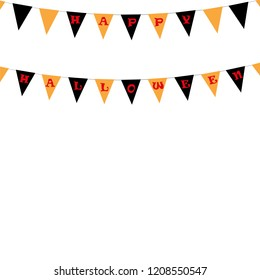 Carnival for a holiday with a flag garland. Festive drawing. Inscription Happy Halloween. The concept of invitations to the party.