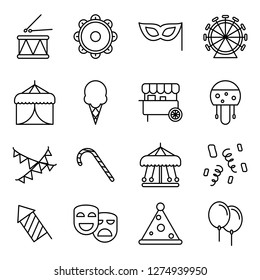 Carnival icons pack. Isolated carnival symbols collection. Graphic icons element