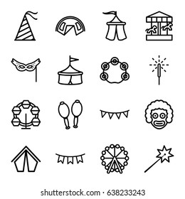 Carnival icons set. set of 16 carnival outline icons such as ferris wheel, maracas, tambourine, party hat, party flag, sparkler, mask, tent, sparklers, carousel, circus