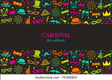 Carnival - let's celebrate. Funny banner with costumes and masks. Vector.