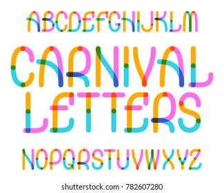 Carnival Letters typeface. Colorful font. Isolated english alphabet.