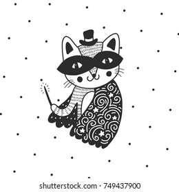 Carnival magical animal. Mask and cloak. Hand drawn vector design. Scandinavian style illustration with cat.