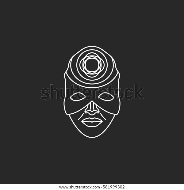 Carnival or Mardi Gras mask symbol simple line icon on background
