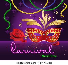 Carnival of Mardi Gras, New Orleans. Neon background for design and greeting cards. Vector drawing