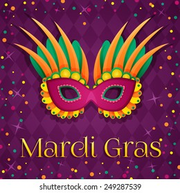 Carnival mardi gras pink mask. Vector Illustration