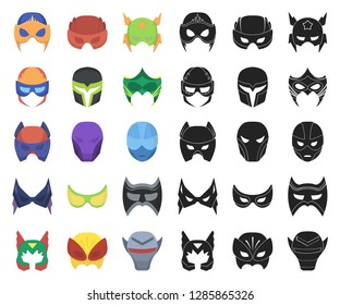 Carnival mask cartoon,black icons in set collection for design.Mask on the eyes and face vector symbol stock web illustration.