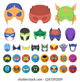 Carnival mask cartoon,flat icons in set collection for design.Mask on the eyes and face vector symbol stock web illustration.