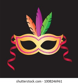 Carnival mask with colorful feathers on a black background. Mardi Gras, carnival of Venice.