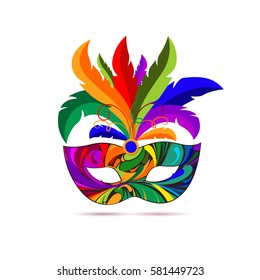 Carnival mask with colorful feathers. Vector illustration