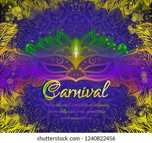 Carnival mask with colorful feathers for woman face on the violet background with gold branches. Romantic banner for Mardi Gras festival. New Orleans holidays.