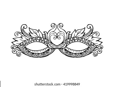 Carnival Mask with Decorative Feathers.