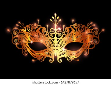 Carnival mask icon gold silhouette isolated on black background. laser cut mask with Venetian embroidery floral decoration. Golden shiny luxury Vector illustration design