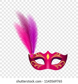 Carnival mask icon. Realistic illustration of carnival mask vector icon for on transparent background