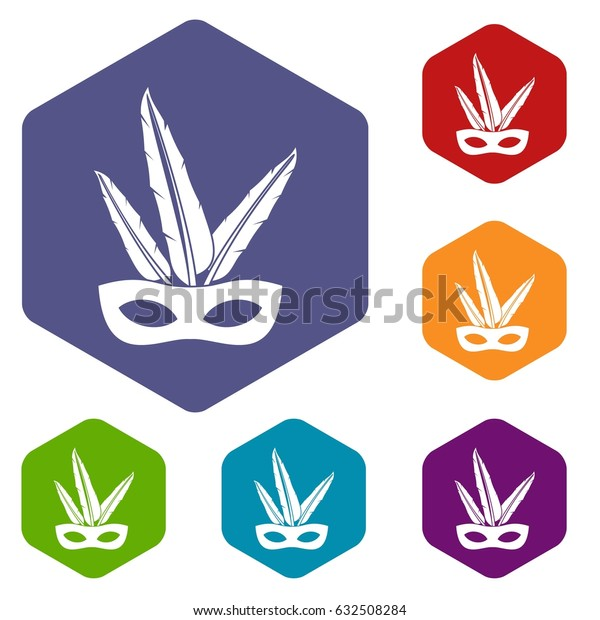 Carnival mask icons set hexagon isolated vector illustration