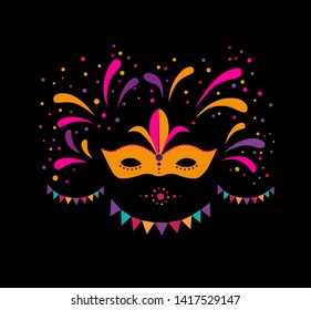 Carnival mask illustration for greeting card poster invitation or banner. Garland and fireworks background. Carnival party design. Vector illustration
