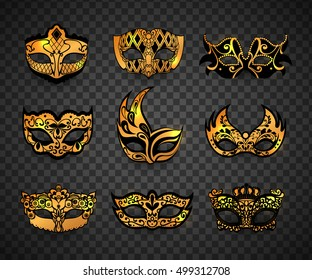 Carnival mask isolated on transparent background. Vector illustration.