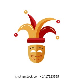 Carnival mask with jester hat isolated on white background. Flat style design.