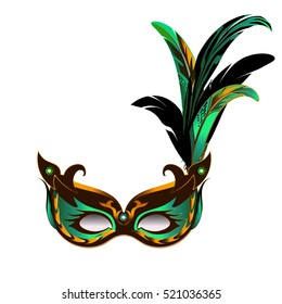 Carnival mask for Mardi Gras decorated with feathers.