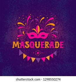 Carnival mask and Masquerade inscription for greeting card poster invitation or banner. Garland and fireworks background. Carnival party design. Vector illustration