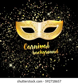 Carnival mask on dark and shiny background with place for your headline - vector illustration