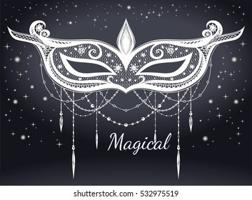 Carnival mask on the star background. Lace. Vector illustration. Holiday magic ornament, honor wardrobe. mask silhouette.