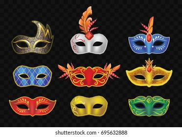 Carnival Mask - realistic modern vector set of different face vintage garment. Black background. High quality clip art for festival, party, fair presentation, banner, flyer, invitation.