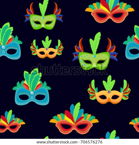 Carnival Mask Seamless Pattern Or Mardi Gras Background Template For Greeting Card Traditional Masquerade Party