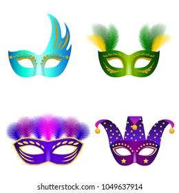 Carnival mask venetian mockup set. Realistic illustration of 4 carnival mask venetian mockups for web