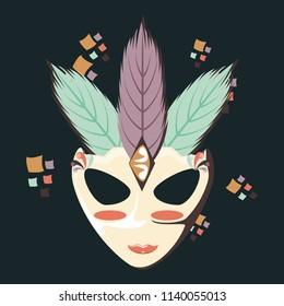 carnival mask vintage icon