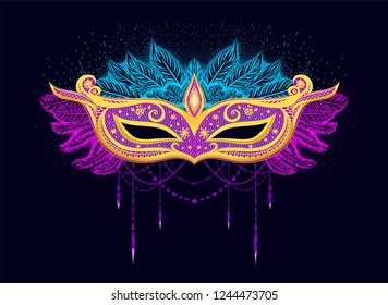 Carnival mask for woman`s face. Gold mask with colorful feathers. Prin for t shirt, invtation card. Festival of new year.