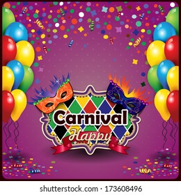 Carnival masks with balloons and confetti for parties with space to insert your text-transparency  blending effects and gradient mesh-EPS10