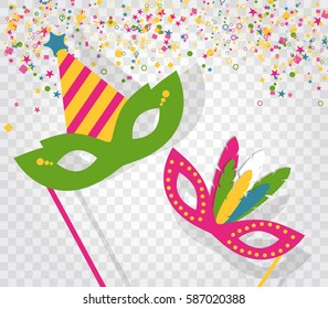 Carnival masks and confetti isolated on transparent background. Flat vector illustration elements.