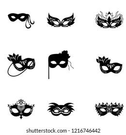 Carnival Masks icon set vector