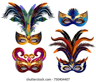 Carnival masks icons set with feather isolated on white.