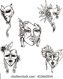 Carnival Masks Set. Black and white vector illustrations.