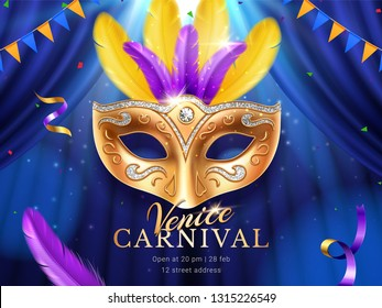 Carnival or masquerade colombina golden mask at mardi gras parade banner. Fat tuesday poster with feather and flags, crepe paper streamer and confetti. Venice party or venetian festival flyer. Holiday
