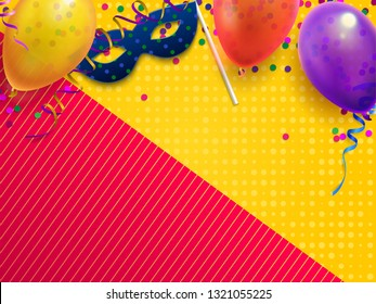 Carnival masquerade festive background. Kids birthday party with confetti, carnival mask and balloon. Masquerade invitation card, intrigue mysterious festival mask vector illustration