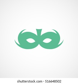 Carnival Masquerade Mask Green Flat Icon On White Background