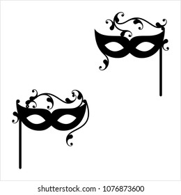 Carnival, Masquerade Mask Icon Design Vector Art Illustration