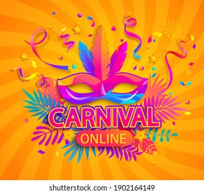 Carnival online party banner. Invitation card for live stream of festival. Mask with feathers for festive on fluid gradient background. Template for design flyer,poster. Vector illustration.