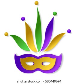 Carnival paper mask with cap, bells and gold, green, yellow and violet colors. Isolated on white background. Vector illustration. Elements for banner, holiday, party.