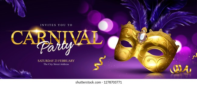 Carnival party banner design, golden mask with purple feathers in 3d illustration on glittering bokeh background
