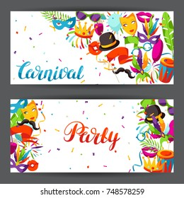 Carnival party banners with celebration icons, objects and decor.