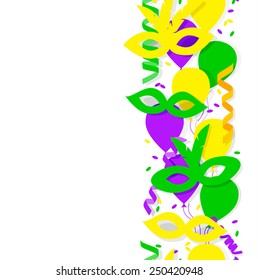 Carnival party or celebration seamless border with confetti, masks,  streamers and balloons  in green, purple, yellow Mardi gras colors, vector illustration